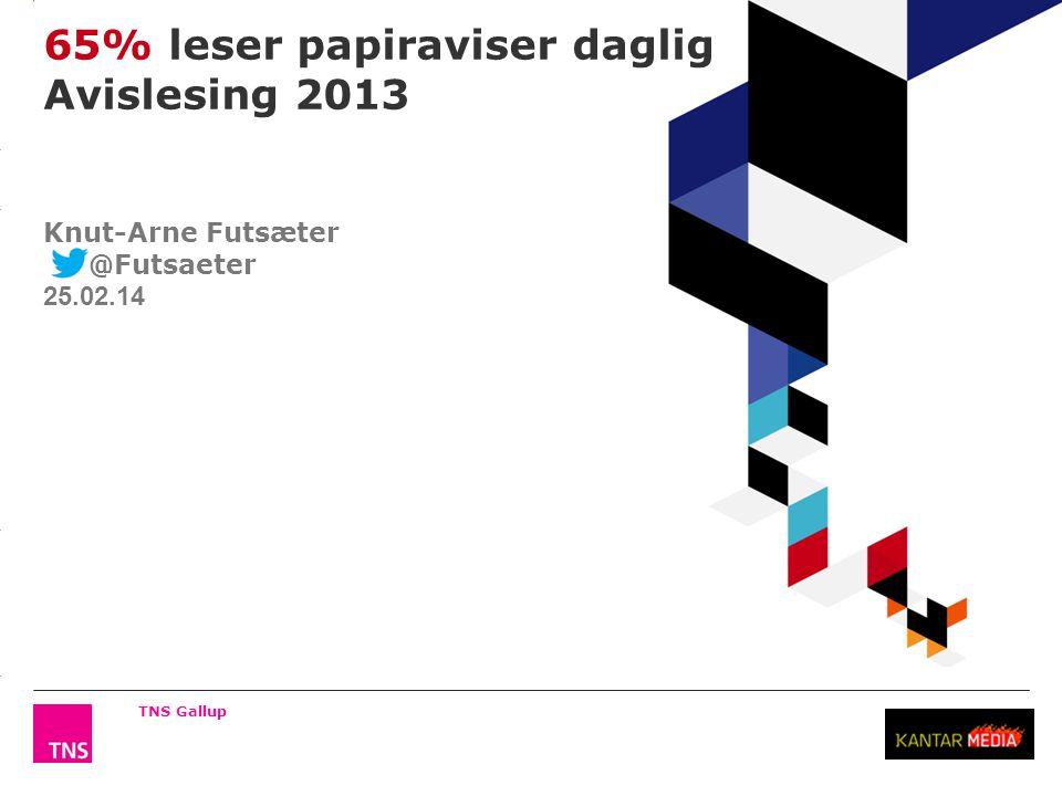 3.14 X AXIS 6.65 BASE MARGIN 5.95 TOP MARGIN 4.52 CHART TOP 11.90 LEFT MARGIN 11.90 RIGHT MARGIN 65% leser papiraviser daglig Avislesing 2013 TNS Gallup Knut-Arne Futsæter @Futsaeter 25.02.14