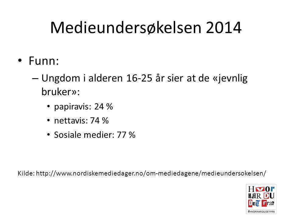 Mediebarometeret (SSB) Papiravis leses av (nyheter på nett i parentes): – 9-15 år: 18 % (23 %) – 16-24 år: 26 % (64 %) Sosiale medier: – 9-15 år: 57 % – 16-24 år: 91 % Kilde: http://ssb.no/kultur-og-fritid/artikler-og-publikasjoner/norsk-mediebarometer-2013
