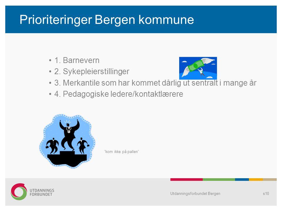 Prioriteringer Bergen kommune 1. Barnevern 2. Sykepleierstillinger 3.