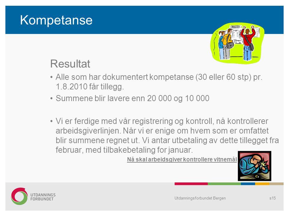 Kompetanse Resultat Alle som har dokumentert kompetanse (30 eller 60 stp) pr.