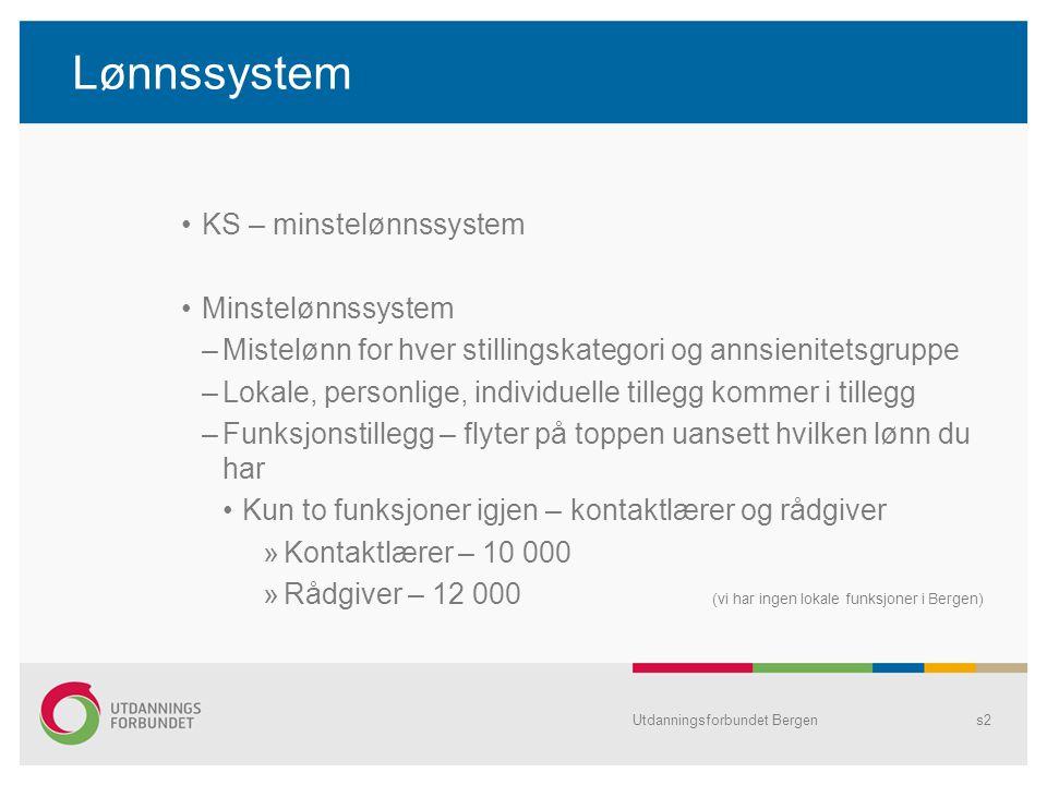 Kompetansepotten Utgangspunktet var at alle i Bergen kommune med studiepoeng utover krav skulle få.