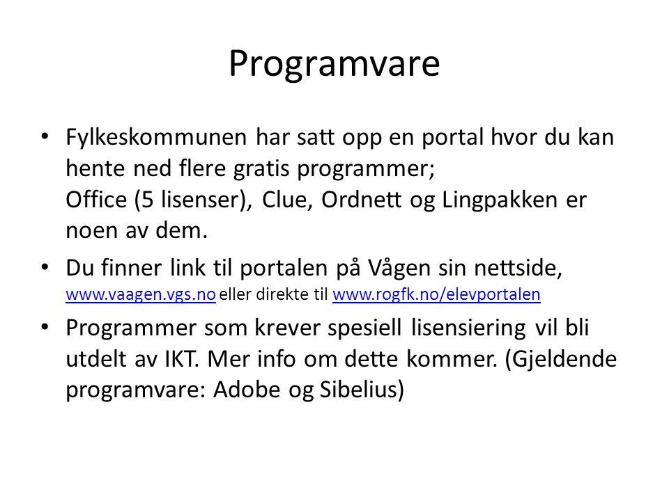 Programvare Fylkeskommunen har satt opp en portal hvor du kan hente ned flere gratis programmer; Office (5 lisenser), Clue, Ordnett og Lingpakken er n
