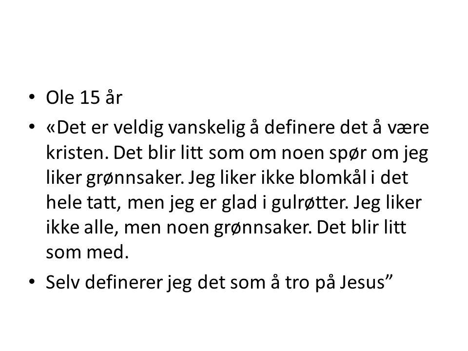 Ole 15 år «Det er veldig vanskelig å definere det å være kristen. Det blir litt som om noen spør om jeg liker grønnsaker. Jeg liker ikke blomkål i det