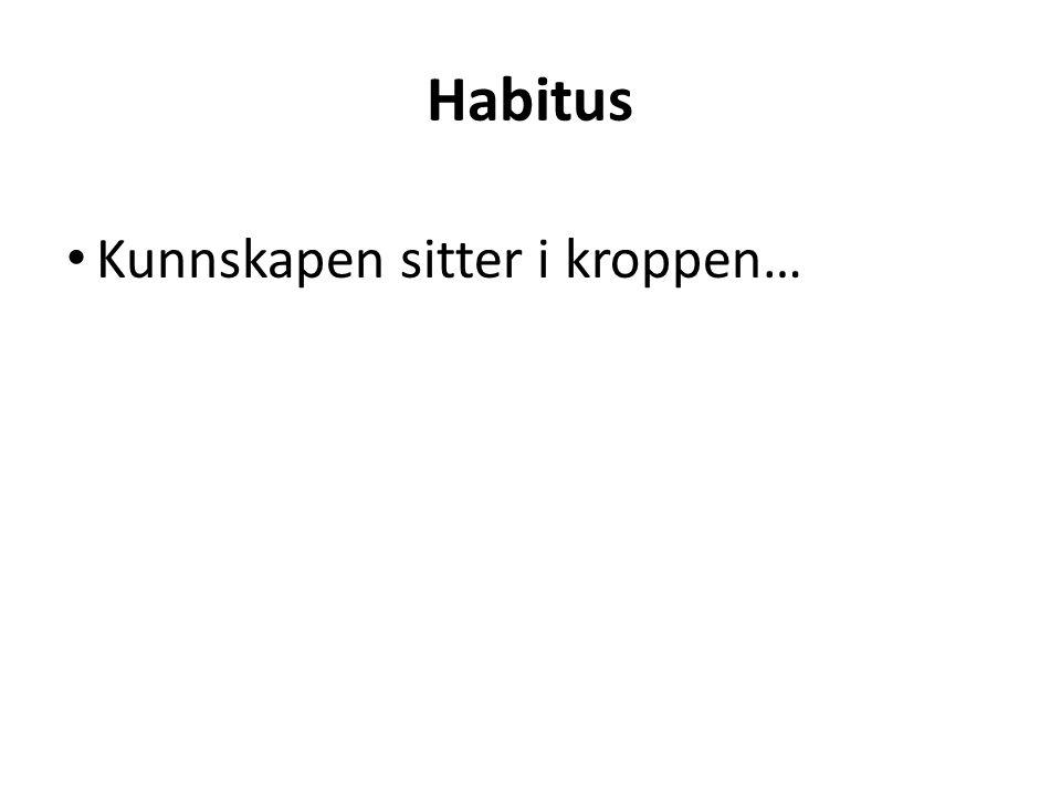 Kunnskapen sitter i kroppen… Habitus