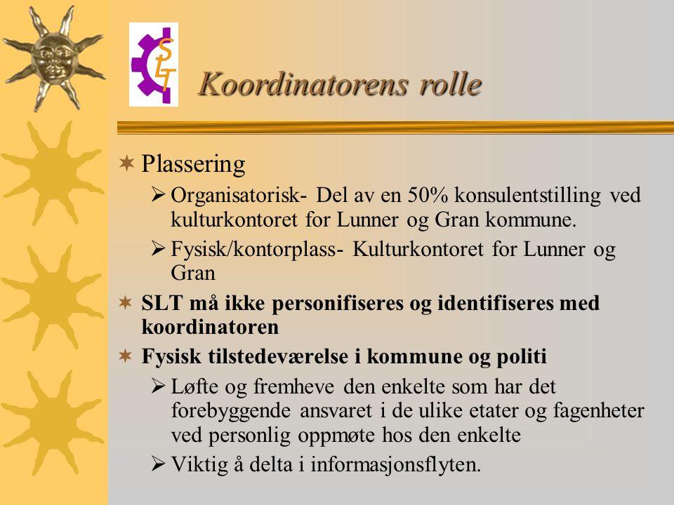  Plassering  Organisatorisk- Del av en 50% konsulentstilling ved kulturkontoret for Lunner og Gran kommune.  Fysisk/kontorplass- Kulturkontoret for