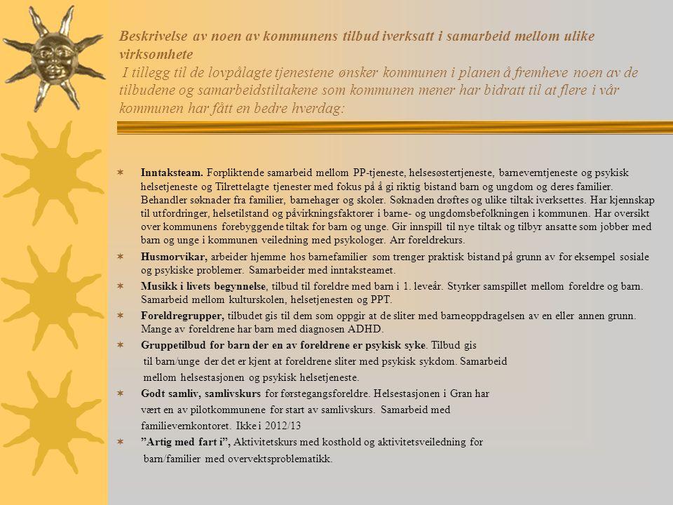 Beskrivelse av noen av kommunens tilbud iverksatt i samarbeid mellom ulike virksomhete I tillegg til de lovpålagte tjenestene ønsker kommunen i planen