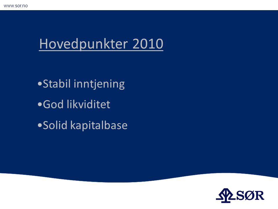 www.sor.no Stabil inntjening God likviditet Solid kapitalbase Hovedpunkter 2010