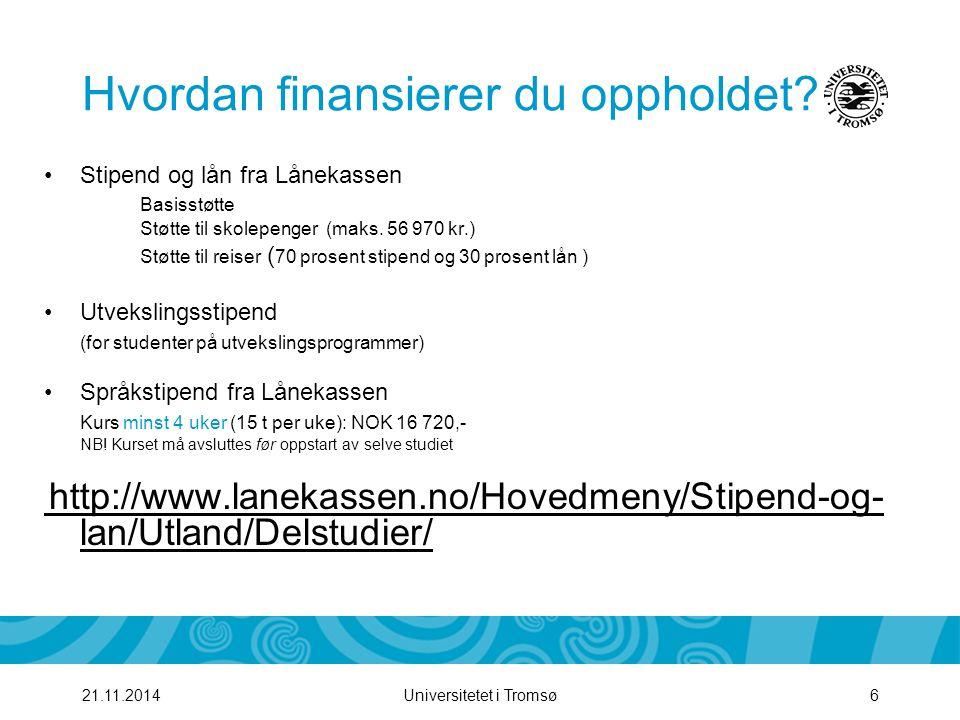 Universitetet i Tromsø721.11.2014 Hvordan søker jeg.