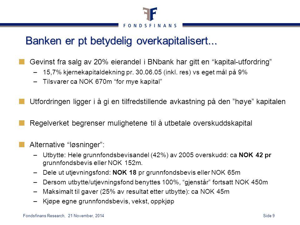"""Side 9Fondsfinans Research, 21 November, 2014 Banken er pt betydelig overkapitalisert... Gevinst fra salg av 20% eierandel i BNbank har gitt en """"kapit"""