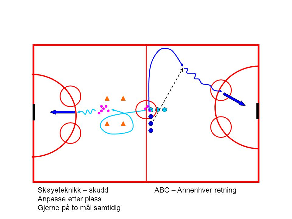 Skøyeteknikk – skuddABC – Annenhver retning Anpasse etter plass Gjerne på to mål samtidig
