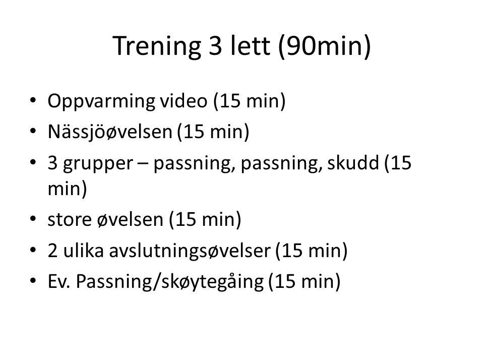 Trening 3 lett (90min) Oppvarming video (15 min) Nässjöøvelsen (15 min) 3 grupper – passning, passning, skudd (15 min) store øvelsen (15 min) 2 ulika avslutningsøvelser (15 min) Ev.