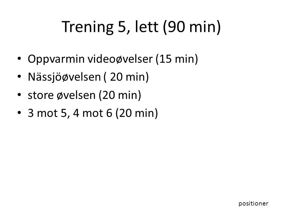 Trening 5, lett (90 min) Oppvarmin videoøvelser (15 min) Nässjöøvelsen ( 20 min) store øvelsen (20 min) 3 mot 5, 4 mot 6 (20 min) positioner