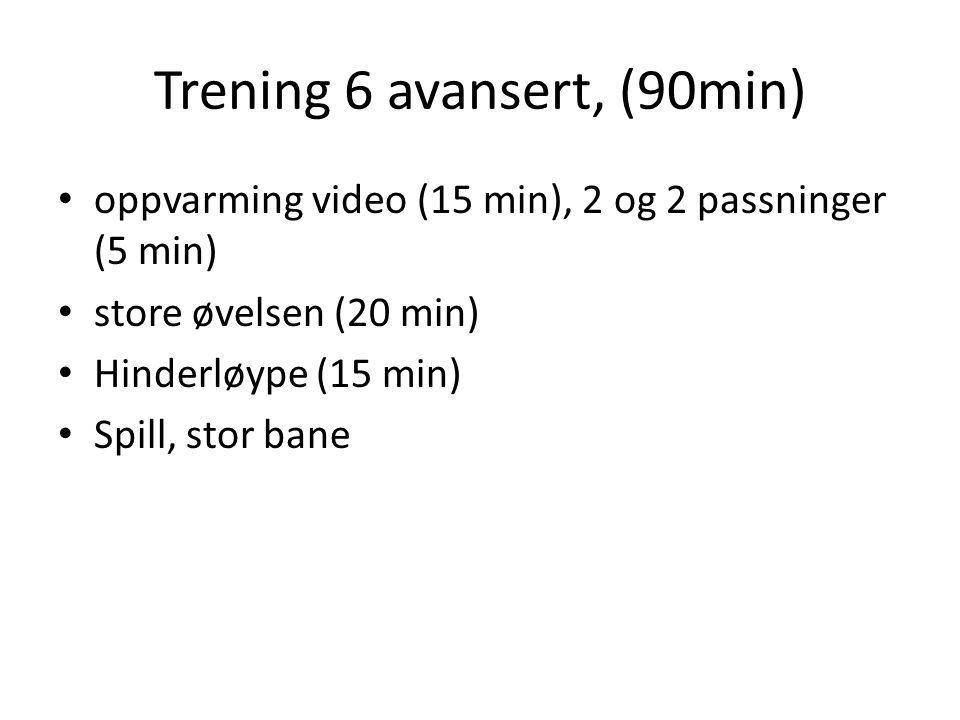 Trening 6 avansert, (90min) oppvarming video (15 min), 2 og 2 passninger (5 min) store øvelsen (20 min) Hinderløype (15 min) Spill, stor bane