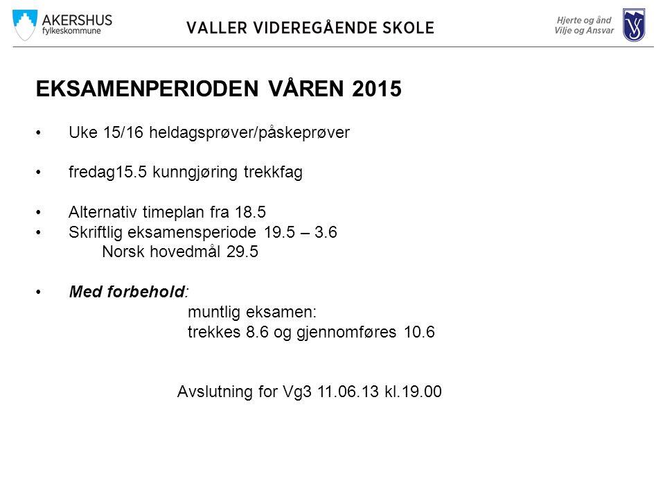 EKSAMENPERIODEN VÅREN 2015 Uke 15/16 heldagsprøver/påskeprøver fredag15.5 kunngjøring trekkfag Alternativ timeplan fra 18.5 Skriftlig eksamensperiode