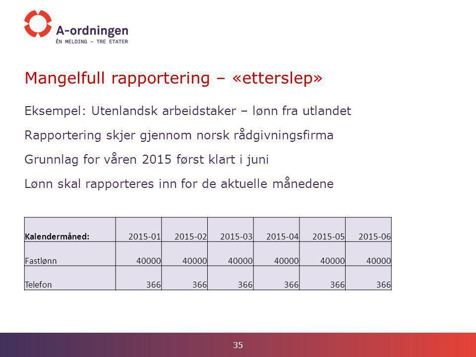 Mangelfull rapportering – «etterslep» 35 Eksempel: Utenlandsk arbeidstaker – lønn fra utlandet Rapportering skjer gjennom norsk rådgivningsfirma Grunn