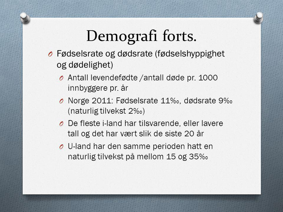 Demografi forts. O Fødselsrate og dødsrate (fødselshyppighet og dødelighet) O Antall levendefødte /antall døde pr. 1000 innbyggere pr. år O Norge 2011