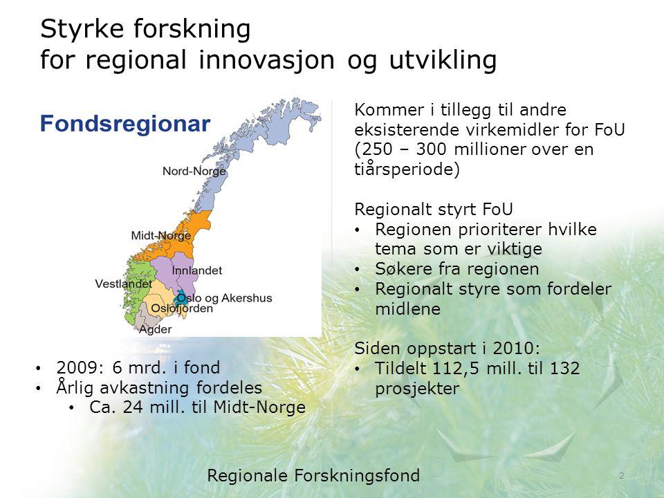 Styrke forskning for regional innovasjon og utvikling Regionale Forskningsfond 2 2009: 6 mrd.