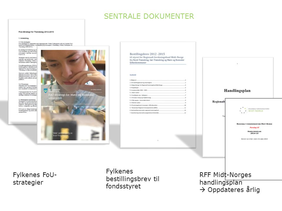 Fylkenes FoU- strategier Fylkenes bestillingsbrev til fondsstyret SENTRALE DOKUMENTER RFF Midt-Norges handlingsplan  Oppdateres årlig