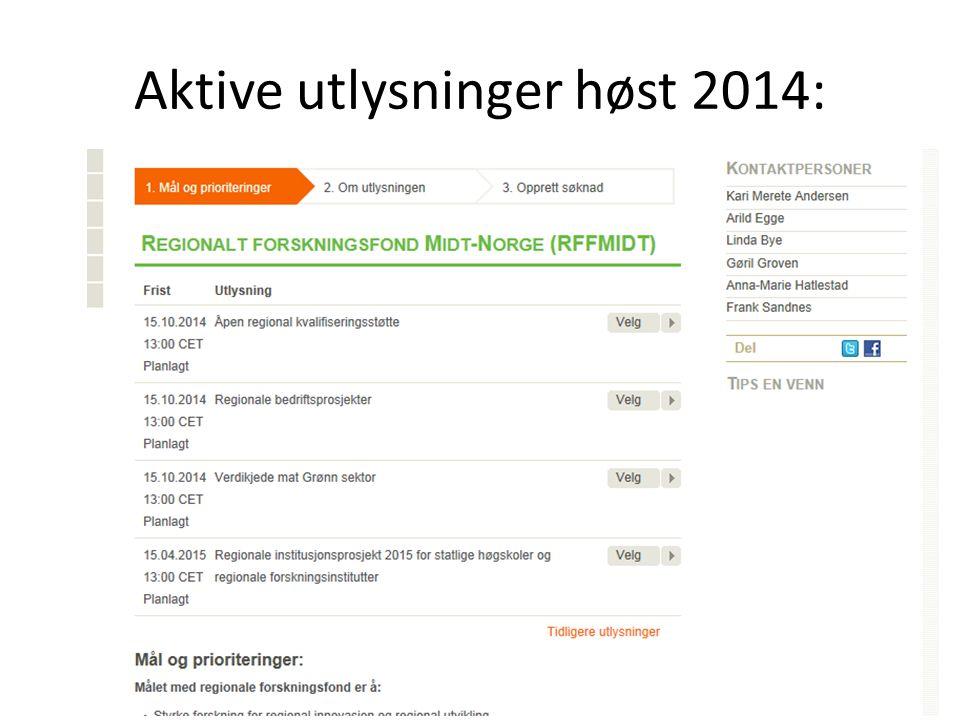 Aktive utlysninger høst 2014: