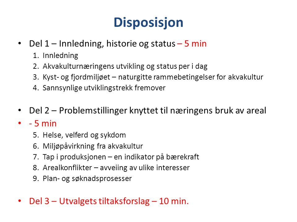 Disposisjon Del 1 – Innledning, historie og status – 5 min 1. Innledning 2. Akvakulturnæringens utvikling og status per i dag 3. Kyst- og fjordmiljøet