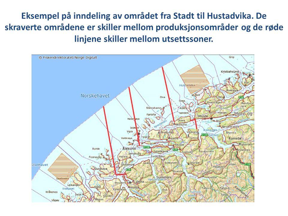 Eksempel på inndeling av området fra Stadt til Hustadvika. De skraverte områdene er skiller mellom produksjonsområder og de røde linjene skiller mello