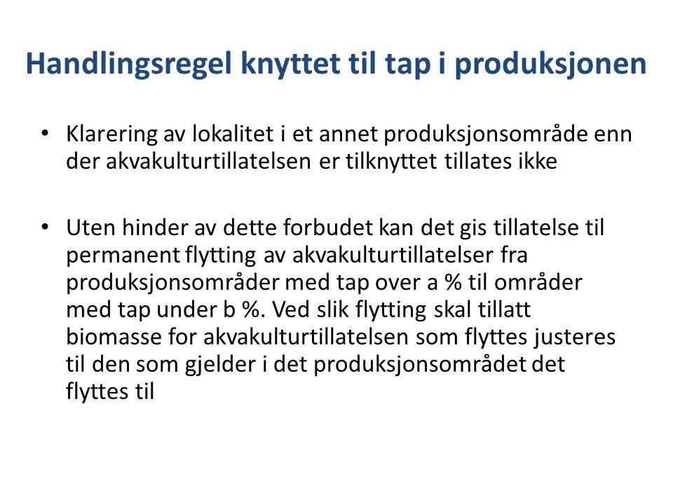 Handlingsregel knyttet til tap i produksjonen Klarering av lokalitet i et annet produksjonsområde enn der akvakulturtillatelsen er tilknyttet tillates