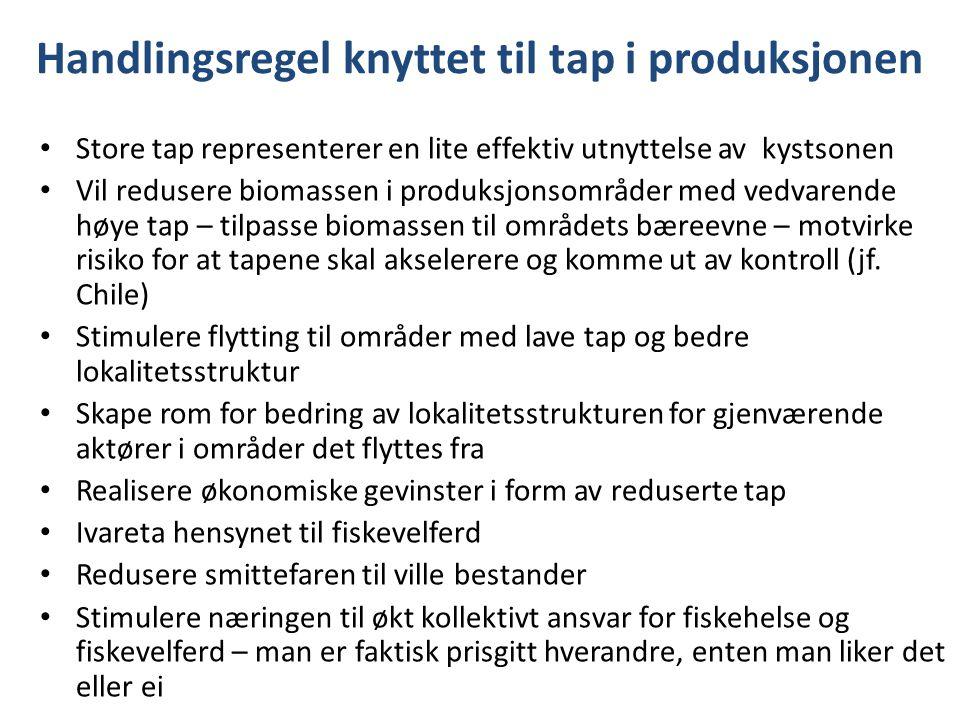 Handlingsregel knyttet til tap i produksjonen Store tap representerer en lite effektiv utnyttelse av kystsonen Vil redusere biomassen i produksjonsomr