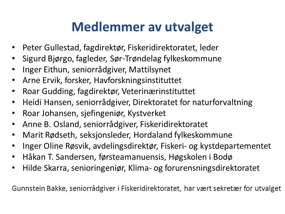 Medlemmer av utvalget Peter Gullestad, fagdirektør, Fiskeridirektoratet, leder Sigurd Bjørgo, fagleder, Sør-Trøndelag fylkeskommune Inger Eithun, seni