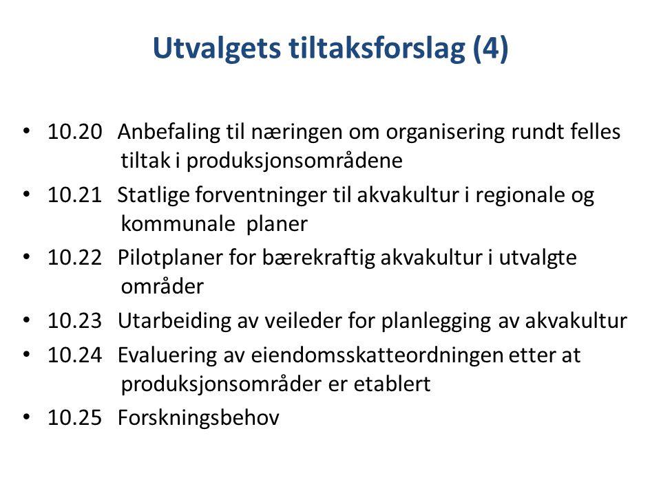 Utvalgets tiltaksforslag (4) 10.20 Anbefaling til næringen om organisering rundt felles tiltak i produksjonsområdene 10.21 Statlige forventninger til