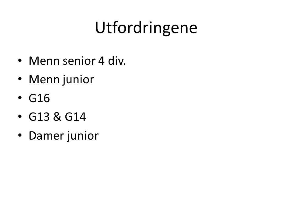 Utfordringene Menn senior 4 div. Menn junior G16 G13 & G14 Damer junior