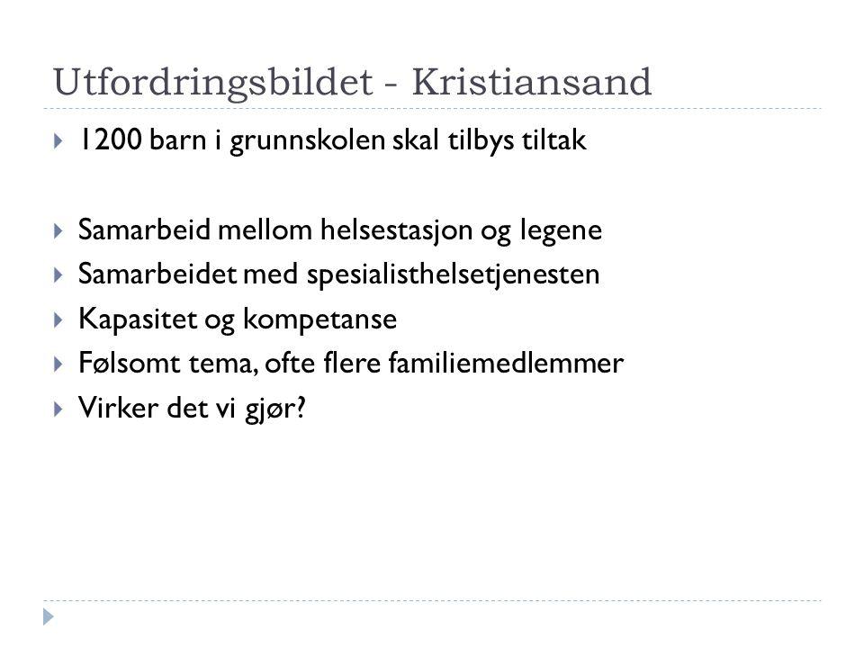 Utfordringsbildet - Kristiansand  1200 barn i grunnskolen skal tilbys tiltak  Samarbeid mellom helsestasjon og legene  Samarbeidet med spesialisthe