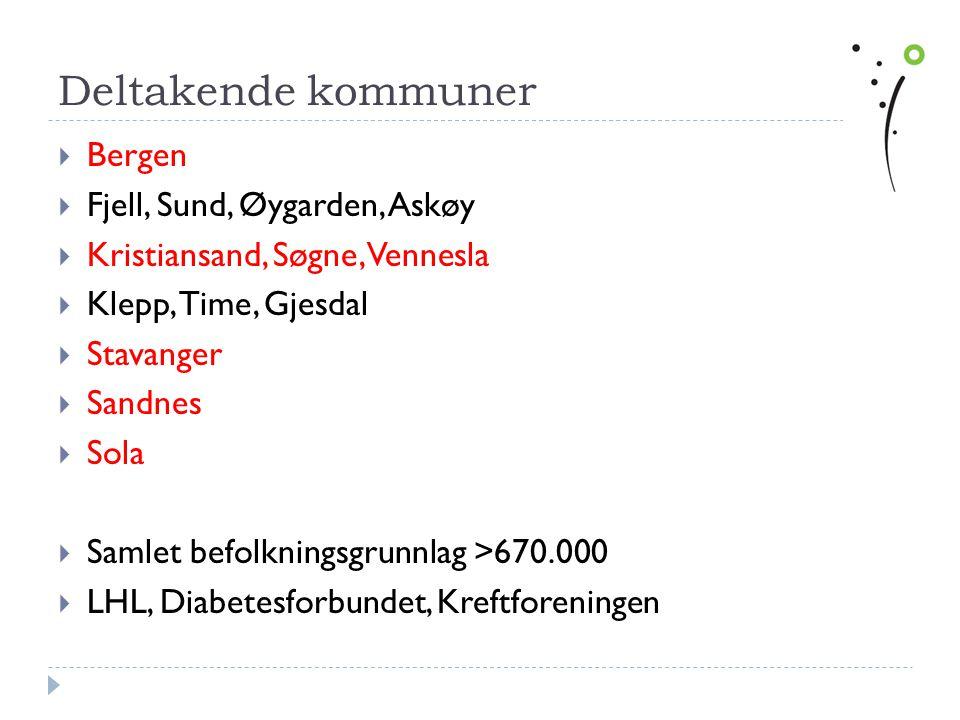 Deltakende kommuner  Bergen  Fjell, Sund, Øygarden, Askøy  Kristiansand, Søgne, Vennesla  Klepp, Time, Gjesdal  Stavanger  Sandnes  Sola  Saml