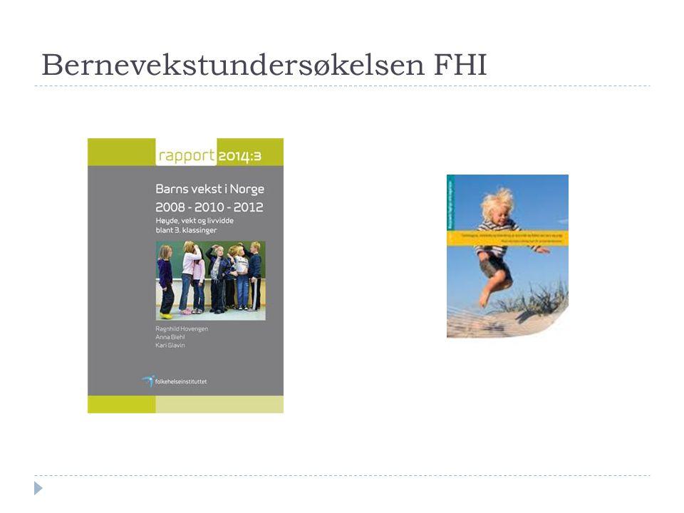 Kristiansand 2011  5 år: 94 barn iso-KMI 25-30 (9%) 21 barn iso-KMI > 30 (2%)  3.