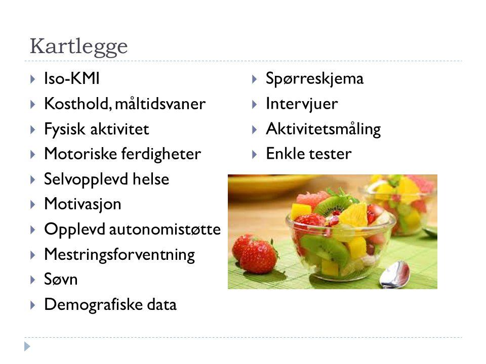 Kartlegge  Iso-KMI  Kosthold, måltidsvaner  Fysisk aktivitet  Motoriske ferdigheter  Selvopplevd helse  Motivasjon  Opplevd autonomistøtte  Me