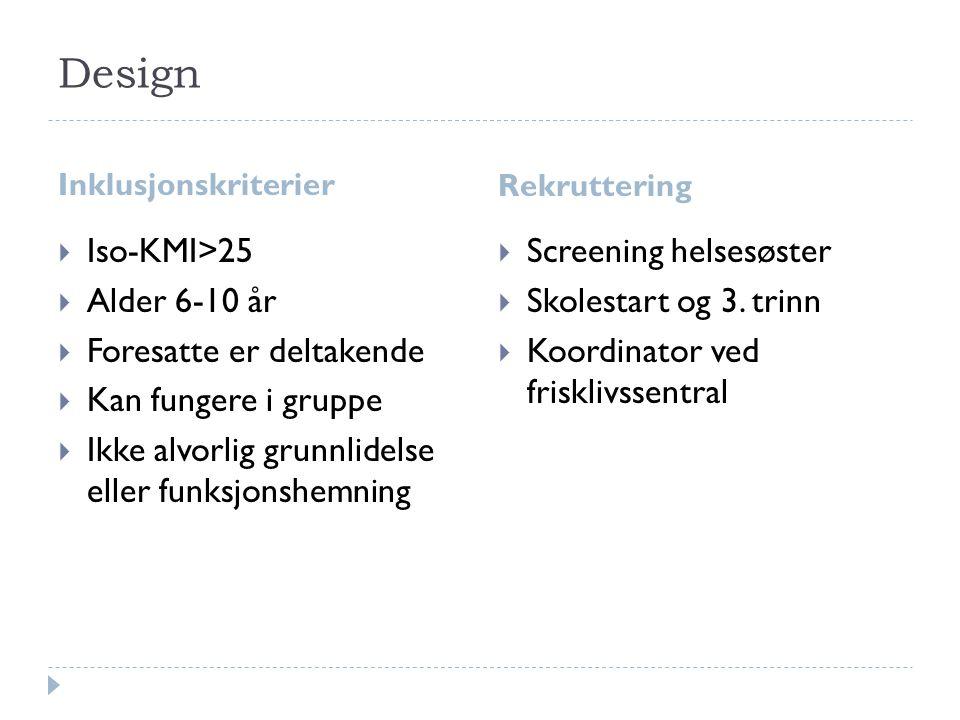Design Inklusjonskriterier Rekruttering  Iso-KMI>25  Alder 6-10 år  Foresatte er deltakende  Kan fungere i gruppe  Ikke alvorlig grunnlidelse ell
