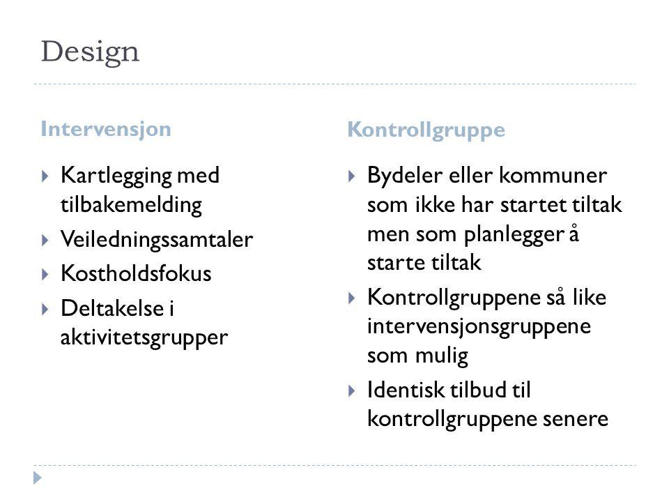 Design Intervensjon Kontrollgruppe  Kartlegging med tilbakemelding  Veiledningssamtaler  Kostholdsfokus  Deltakelse i aktivitetsgrupper  Bydeler