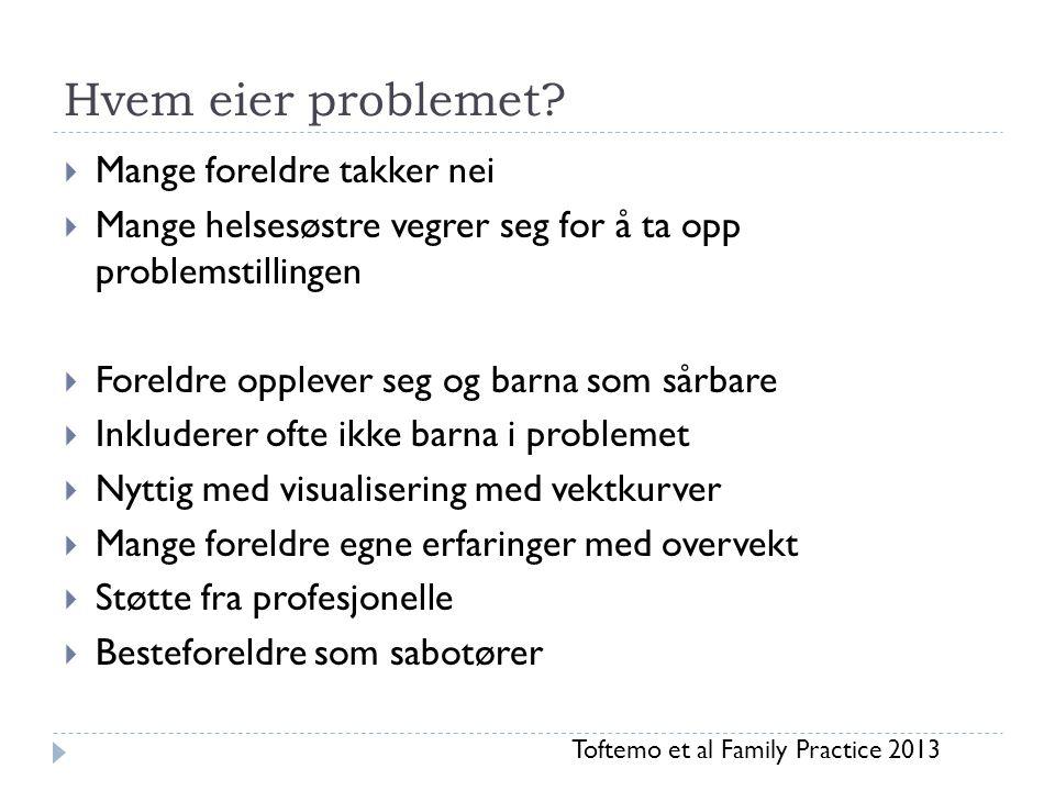Hvem eier problemet?  Mange foreldre takker nei  Mange helsesøstre vegrer seg for å ta opp problemstillingen  Foreldre opplever seg og barna som så
