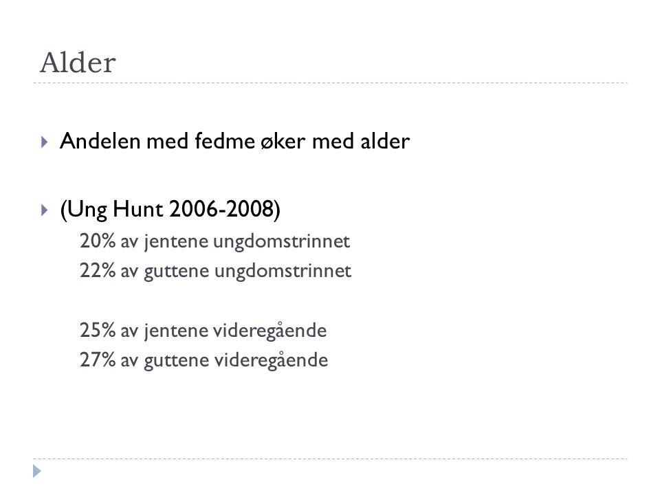 Alder  Andelen med fedme øker med alder  (Ung Hunt 2006-2008) 20% av jentene ungdomstrinnet 22% av guttene ungdomstrinnet 25% av jentene videregåend