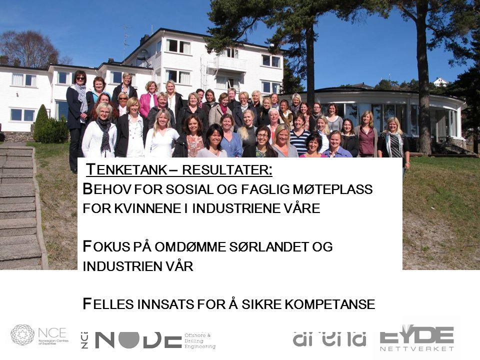 Felles Tenketank for NODE-Eydenettverket 15-16 April 2010 Strategisk initiativ for å utvikle regionen: Vi tar i bruk kvinners ståsted, erfaring og kompetanse for å få fram tiltak for rekruttering, markedsføring og for å beholde kritisk arbeidskraft.