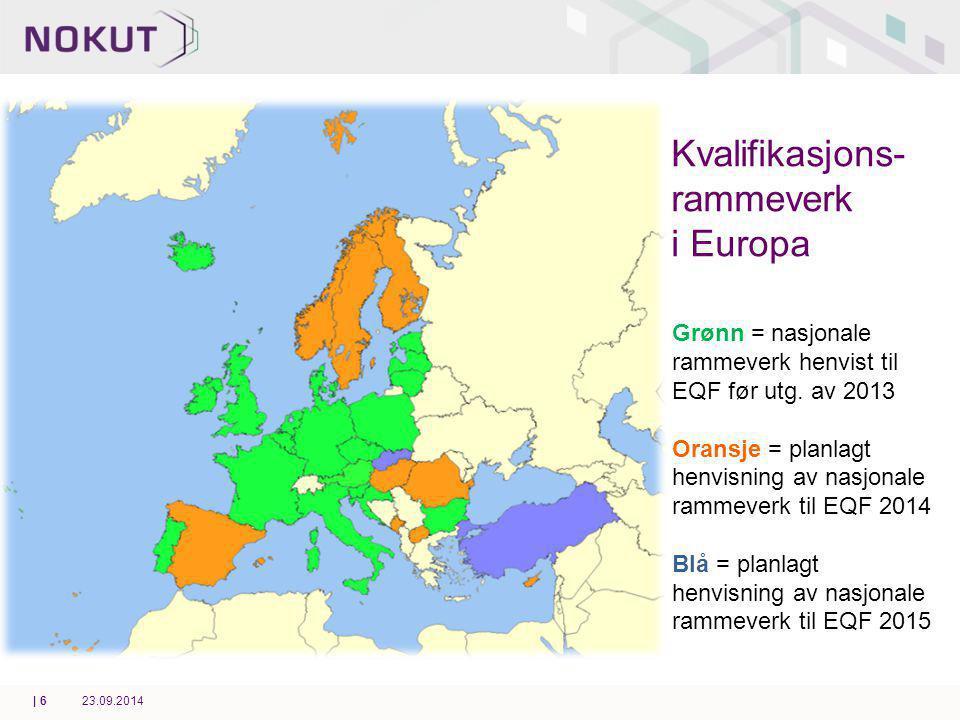 Kvalifikasjons- rammeverk i Europa Grønn = nasjonale rammeverk henvist til EQF før utg.
