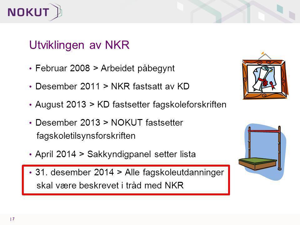 Utviklingen av NKR Februar 2008 > Arbeidet påbegynt Desember 2011 > NKR fastsatt av KD August 2013 > KD fastsetter fagskoleforskriften Desember 2013 > NOKUT fastsetter fagskoletilsynsforskriften April 2014 > Sakkyndigpanel setter lista 31.