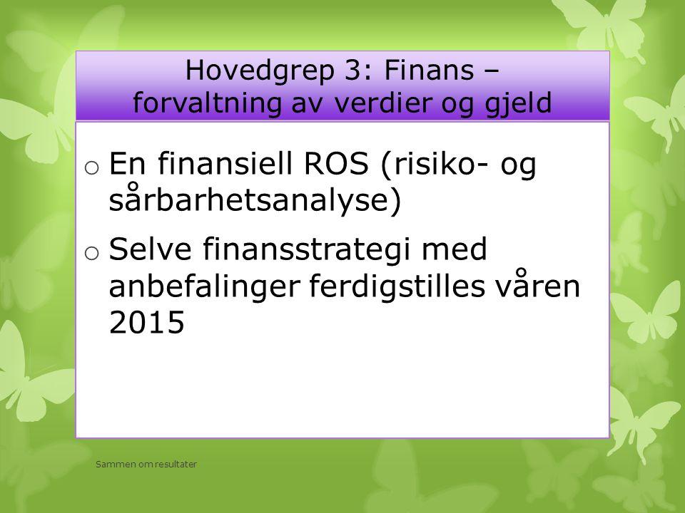 Hovedgrep 3: Finans – forvaltning av verdier og gjeld o En finansiell ROS (risiko- og sårbarhetsanalyse) o Selve finansstrategi med anbefalinger ferdigstilles våren 2015 Sammen om resultater