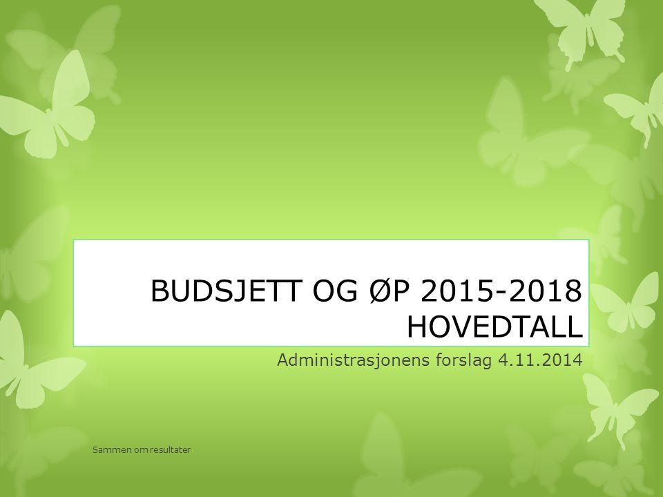 BUDSJETT OG ØP 2015-2018 HOVEDTALL Administrasjonens forslag 4.11.2014 Sammen om resultater