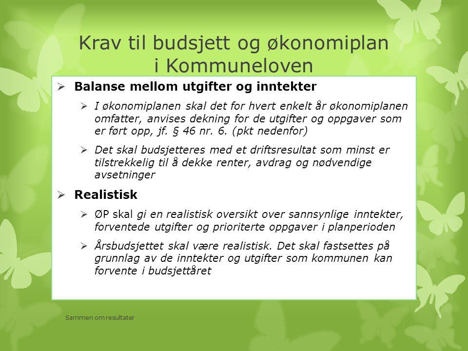 Krav til budsjett og økonomiplan i Kommuneloven  Balanse mellom utgifter og inntekter  I økonomiplanen skal det for hvert enkelt år økonomiplanen omfatter, anvises dekning for de utgifter og oppgaver som er ført opp, jf.
