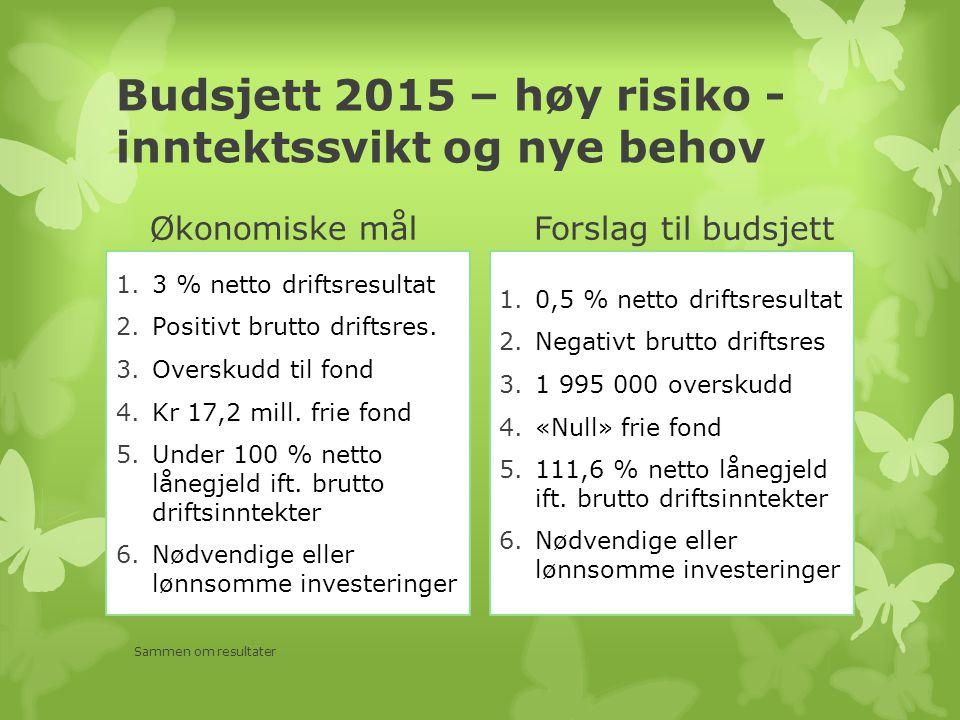 Budsjett 2015 – høy risiko - inntektssvikt og nye behov Økonomiske mål 1.3 % netto driftsresultat 2.Positivt brutto driftsres. 3.Overskudd til fond 4.
