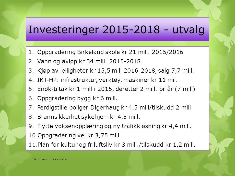 Investeringer 2015-2018 - utvalg 1.Oppgradering Birkeland skole kr 21 mill. 2015/2016 2.Vann og avløp kr 34 mill. 2015-2018 3.Kjøp av leiligheter kr 1