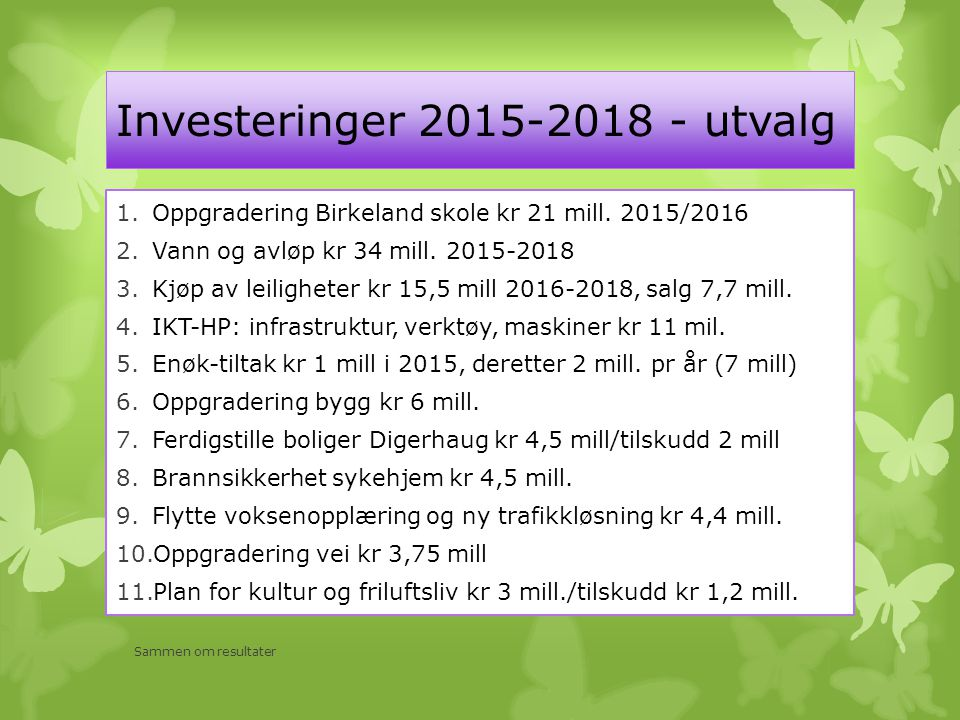 Investeringer 2015-2018 - utvalg 1.Oppgradering Birkeland skole kr 21 mill.