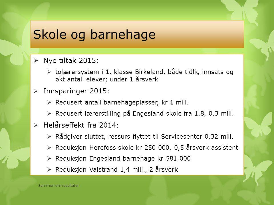 Skole og barnehage Sammen om resultater  Nye tiltak 2015:  tolærersystem i 1.