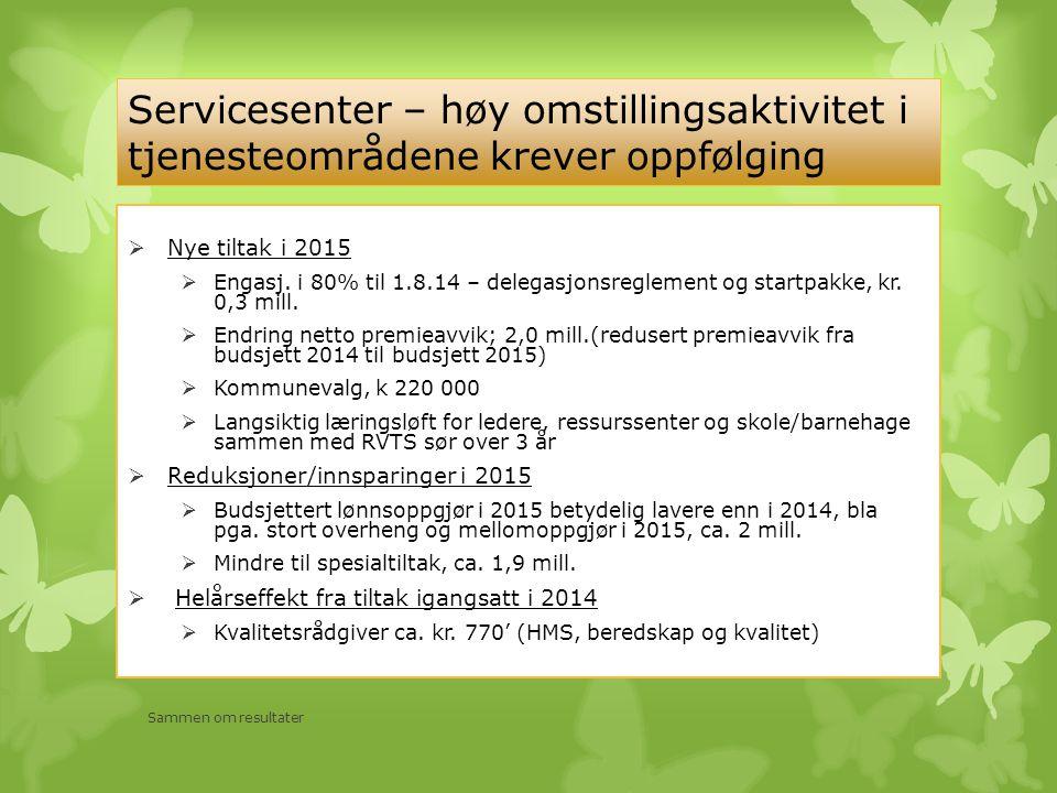 Servicesenter – høy omstillingsaktivitet i tjenesteområdene krever oppfølging  Nye tiltak i 2015  Engasj. i 80% til 1.8.14 – delegasjonsreglement og