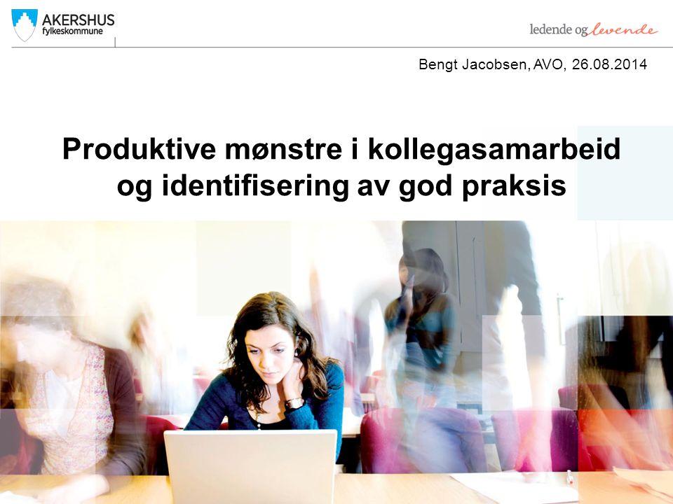 Produktive mønstre i kollegasamarbeid og identifisering av god praksis Bengt Jacobsen, AVO, 26.08.2014